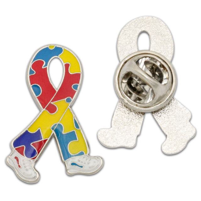 Ribbon Lapel pin badge soft enamel with epoxy