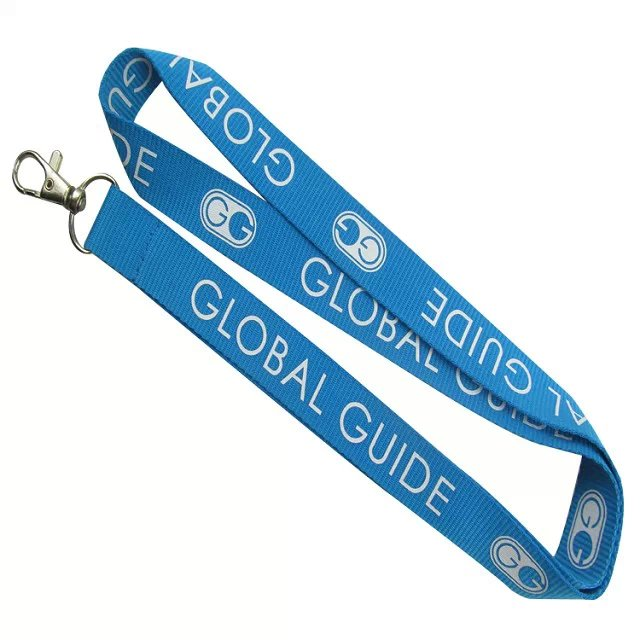 Printed logo safety blue global guide lanyards